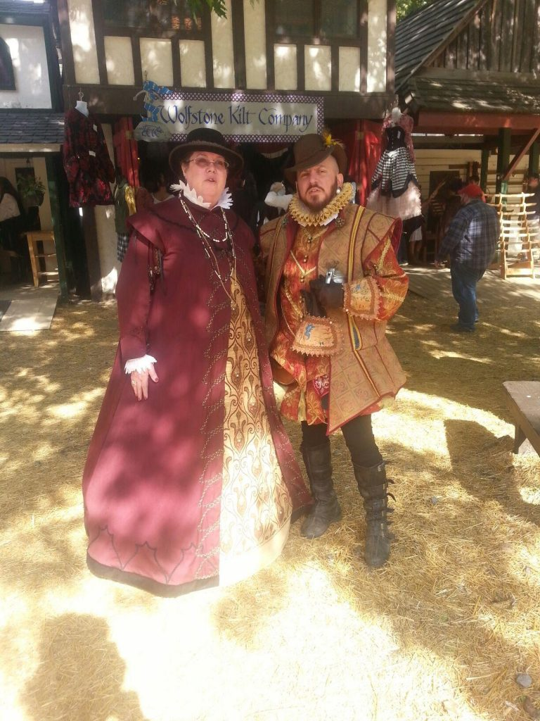 Burgundy Surcoat and Red Elizabethan Suit