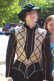 Green Elizabethan Suit with a Tan Jerkin