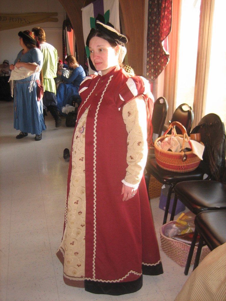 Burgundy Loose Kirtle and Surcoat for Maternity-wear